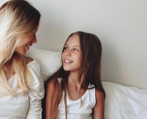 Mother in a conversation with her tween daughter