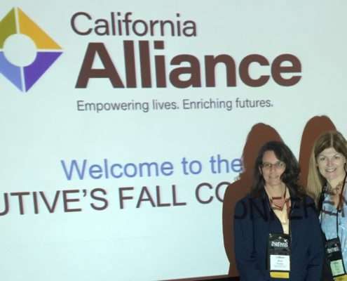 Picture of Walden executives Mary Frame and Sue Evans at their California Alliance presentation on medically fragile foster children