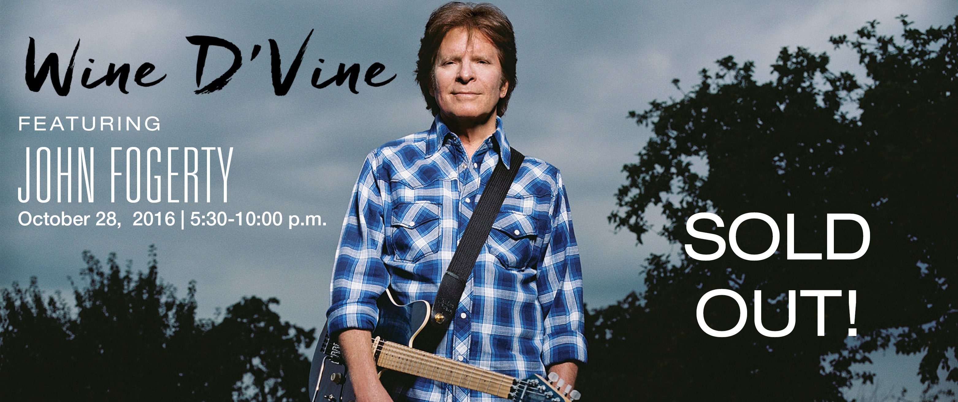 Banner promoting John Fogerty at Wine D'Vine